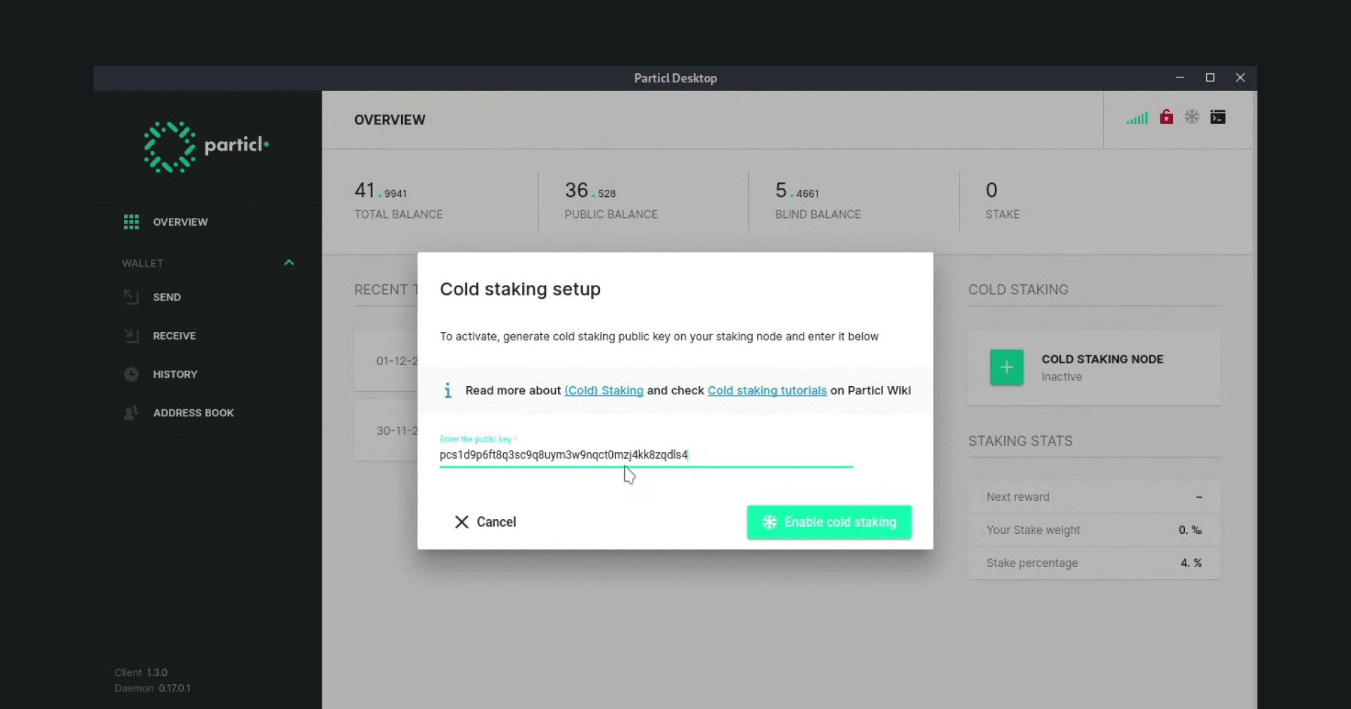 Staking with Particl Desktop